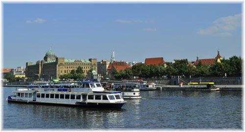 Boats on Vltava River