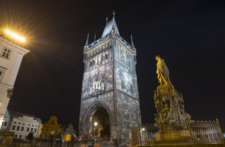 A night view of Old Town bridge tower